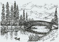 Vektorlandschaft. Brücke über Fluss und Pappeln entlang der Straße Lizenzfreie Stockbilder