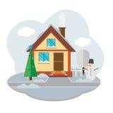 Vektorlandschaft mit schönem Haus Stockbild