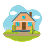 Vektorlandschaft mit schönem Haus Lizenzfreie Stockbilder