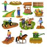 Vektorlandschaftssatz Cliparte mögen Erntemaschine und säen Samen und reiten ein Pferd und pflügen, Vieh gut Landwirt, das Bebaue lizenzfreie abbildung