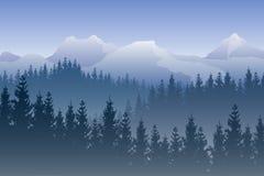 Vektorlandskap med blåa skogar och snöig berg på bakgrunden royaltyfri illustrationer