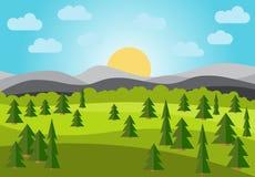 Vektorlandskap med fältet, träd och berg vektor illustrationer