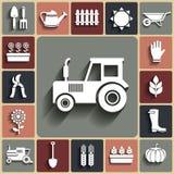 Vektorlandwirtschaft und weiße Ikonen des Bauernhofes eingestellt Stockfotografie