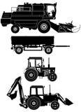 Vektorlandwirtschaftliche Fahrzeuge eingestellt Stockfotografie