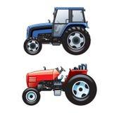 2 vektorlantgårdtraktorer royaltyfri illustrationer