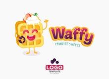 Vektorlebensmittel-Logodesign Belgien-Waffeln mit der Eiscreme und Erdbeeren lokalisiert auf weißem Hintergrund Stockfotos