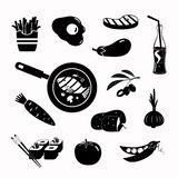 Vektorlebensmittelschwarz-Ikonensatz Stockfotos