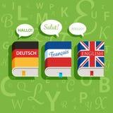 Vektorlehrbücher der englisch-deutschen und französischen Grammatik Stockfoto