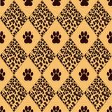 Vektorleopardbakgrund med spår Vektor Illustrationer