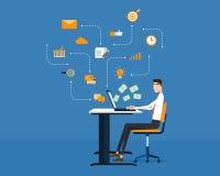 Vektorleutegeschäft, welches das Erwerben des on-line-Hintergrundes macht Lizenzfreie Stockbilder