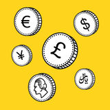 Vektorlinie Hand gezeichnete Münzen Schwarzweiss-Geld Skizzenart, auf weißem Hintergrund sehr schöne dreidimensionale Abbildung 3 Stockfotos