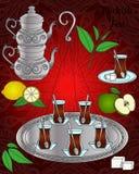 Vektorlinie Ikone Türkischer Teesatz Lizenzfreies Stockfoto