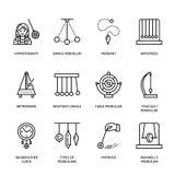 Vektorlinie Ikone von Pendelarten Newton-Wiege, Taktmesser, Tabellenpendel, perpetuum mobile, Gyroskop linear vektor abbildung