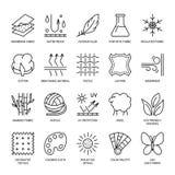 Vektorlinie Ikonen der Gewebefunktion, Kleidereigentumssymbole Elemente - Baumwolle, Wolle, wasserdichter, UVschutz Abnutzungsauf Stockfotografie