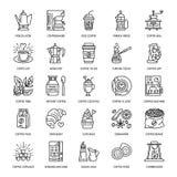 Vektorlinie Ikonen des Kaffees Geräte herstellend Elemente - moka Topf, Franzosepresse, Kaffeemühle, Espresso, verkaufend lizenzfreie abbildung