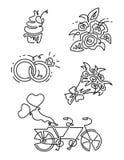 Vektorlinie Ikonen eingestellt Schließt solche Ikonen wie Diamant, kleiner Kuchen, zwei Ringe zusammen, Tandemfahrrad, Blumenstra Lizenzfreies Stockbild