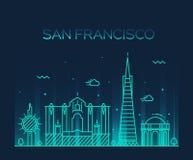 Vektorlinie Kunstart Sans Francisco City Trendy Stockfoto