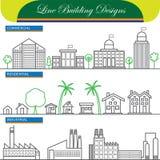 Vektorlinje begreppssymboler av reklamfilmen, bostads- och industr stock illustrationer