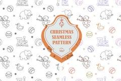 Vektorlinje diagram Sömlös modell för jul i hipsterstil Inklusive provkartor stock illustrationer
