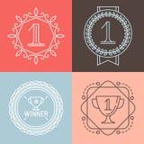 Vektorlinje gamificationsymboler och emblem Arkivbilder