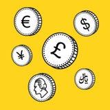 Vektorlinje hand drog mynt Svartvita pengar Skissa stil, på vit bakgrund värld för illustration tre för härlig valuta 3d dimensio Arkivfoton