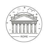 Vektorlinje illustration av panteon, Rome, Italien Royaltyfria Bilder
