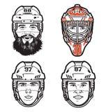 Vektorlinje illustrationer av 4 pro-hockeyspelarehuvud vektor illustrationer