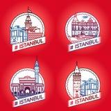 Vektorlinje Istanbul historisk emblemuppsättning Royaltyfri Foto