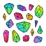 Vektorlinje kristaller för färgneonlutning som isoleras på vit bakgrund vektor illustrationer