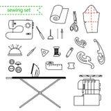 Vektorlinje sömnadsymbolsuppsättning Skisserad uppsättning för handarbetevektorsymbol Fotografering för Bildbyråer