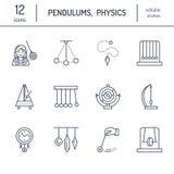 Vektorlinje symbol av klockpendeltyper Newton vagga, metronom, tabellklockpendel, perpetuum mobile, gyroskop Linjär pictogramedit vektor illustrationer