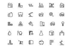 Vektorlinje symboler 1 för industriella processar Arkivfoton