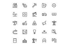 Vektorlinje symboler 3 för industriella processar Royaltyfri Foto