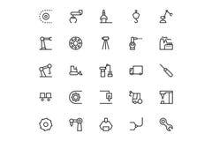 Vektorlinje symboler 4 för industriella processar Royaltyfri Bild