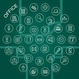 Vektorlinje symboler - kontor stock illustrationer