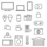 Vektorlinje symboler, uppsättning av internet av saker arkivbilder