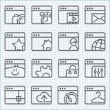 Vektorlinje symbolsuppsättning Arkivfoto