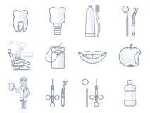 Vektorlinje tand- symbol vektor illustrationer