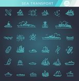 Vektorlinje uppsättning av skepp och fartyg vektor illustrationer