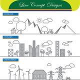 Vektorlinjen begreppssymboler av jordbruksmarkcityscape och går grönt ene stock illustrationer