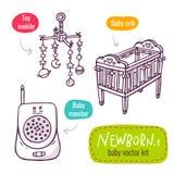 Vektorlinjen konstsymbolsuppsättning med behandla som ett barn produkter för newbornsisolat stock illustrationer