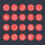 Vektorlinjen symboler av tyg presenterar, plaggegenskapssymboler Beståndsdelar - bomull, ull, vattentätt uv skydd Kläderetiketter vektor illustrationer