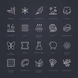 Vektorlinjen symboler av tyg presenterar, plaggegenskapssymboler Beståndsdelar - bomull, ull, vattentätt uv skydd Linjär kläderla stock illustrationer