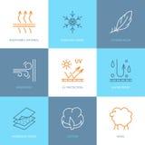 Vektorlinjen symboler av tyg presenterar, plaggegenskapssymboler Beståndsdelar - vindprovexemplar, ull, vattentätt uv skydd Linjä vektor illustrationer