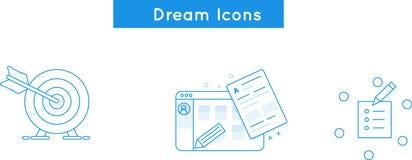 Vektorlinjen symboler som hyr, skapar websiten, beskickning, förbinder Royaltyfria Bilder