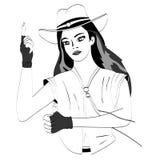 Vektorlinjer Vektorlinjer Flicka i en cowboyhatt som pekar upp royaltyfri illustrationer