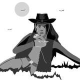 Vektorlinjer Flicka i en cowboyhatt som rymmer en kanin vektor illustrationer