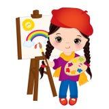 Vektorliten flickamålarfärg på staffli Liten konstnär Vector Illustration stock illustrationer