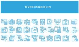 Vektorljus - blåa online-shoppa symboler - vektor vektor illustrationer