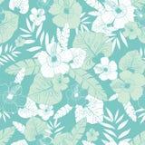 Vektorljus - göra grön och slösa den hawaianska sömlösa modellen för tropisk sommar med tropiska växter, sidor och hibiskusblommo vektor illustrationer